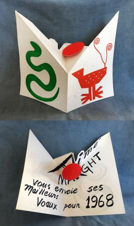 リトグラフ Calder - VŒUX POUR 1968 : Carte dépliante et mobile pour Aimé Maeght