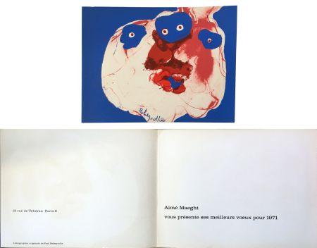 リトグラフ Rebeyrolle - Vœux d'Aimé Maeght pour 1971 : LITHOGRAPHIE ORIGINALE DE REBEYROLLE