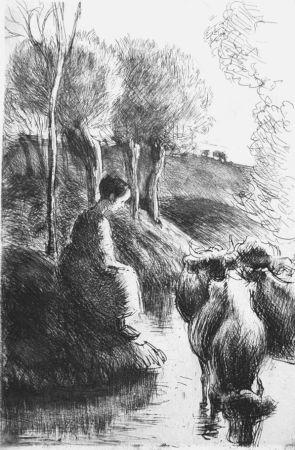 エッチング Pissarro - Vachère au bord de l'eau