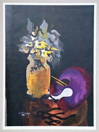 リトグラフ Braque (After) - Vase de fleurs jaunes