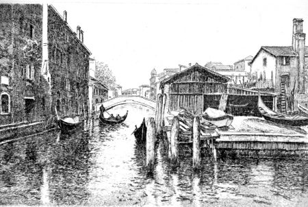 エッチング Cotugno  - Venezia, squero di San Trovaso