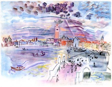 リトグラフ Dufy - Venise- Two Woman at night
