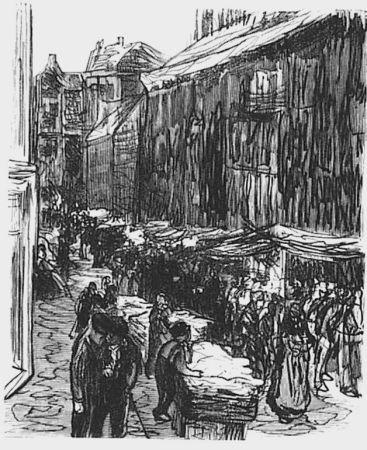 木版 Liebermann - Via del ghetto ad Amsterdam