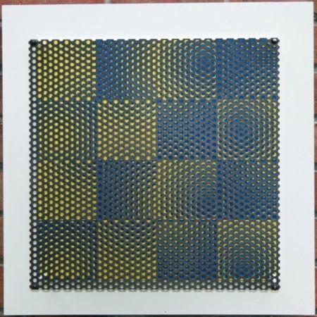 木版 Asis - Vibration 16 carres bleu et jaune