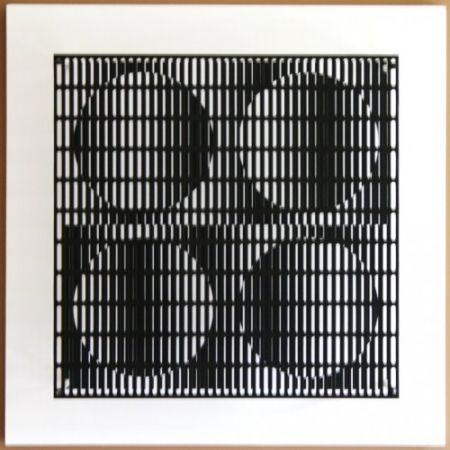 木版 Asis - Vibration 4 cercles noir et blanc