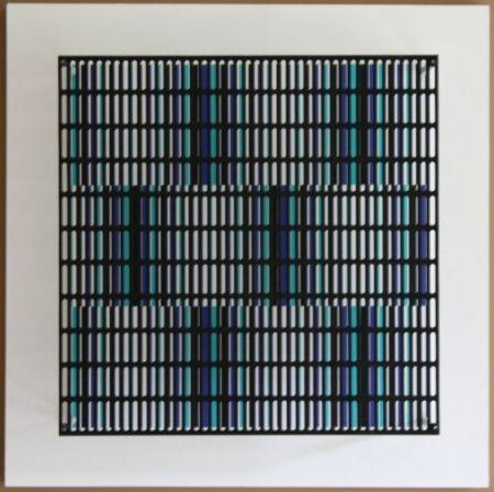 木版 Asis - Vibration bandes noir, bleu et turquoise