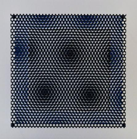 木版 Asis - Vibration carré noir et bleu