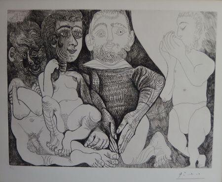 彫版 Picasso - Vieil Homme Concupiscent Et Impuissant Avec Une Prostituée Espagnole