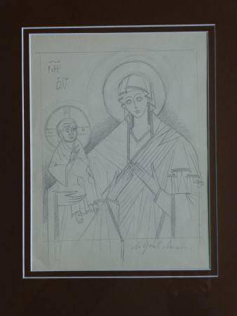 技術的なありません Goncharova - Vierge à l'enfant ,projet pour une icône