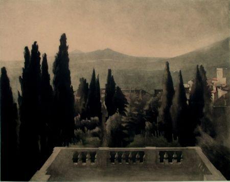 メゾチント彫法 Ilsted - View From Villa D'este