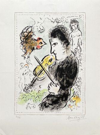 リトグラフ Chagall - Violoniste au coq