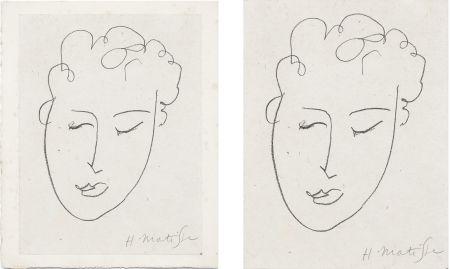 リトグラフ Matisse - VISAGE DE FEMME. Pour Jules Romains : Pierres Levées, poèmes. Paris 1948