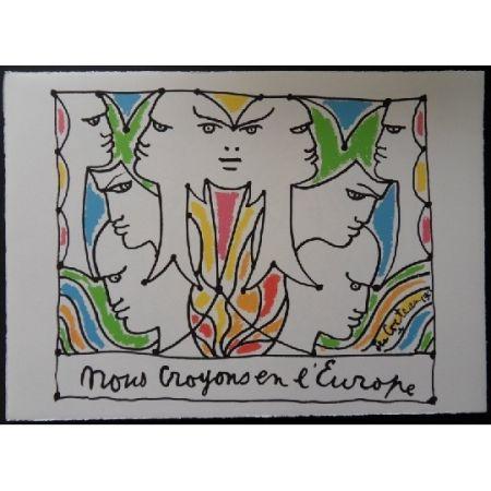 リトグラフ Cocteau - Visages l'Europe