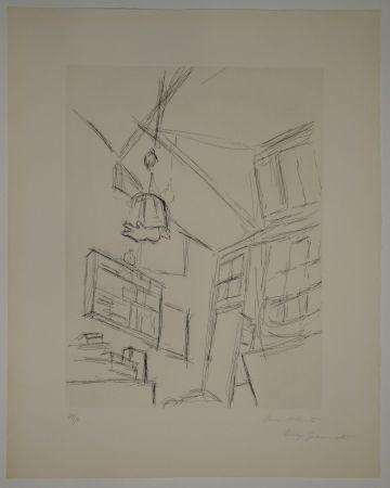 エッチング Giacometti - Vision depuis le lit dans la chambre rue Hippolyte Maindron / Vision du Lit et Abat-jour (View from the Bed, with Lampshade).
