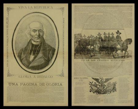 木版 Posada - Viva la Republica - Gloria a Hidalgo/Vivan Los Charros