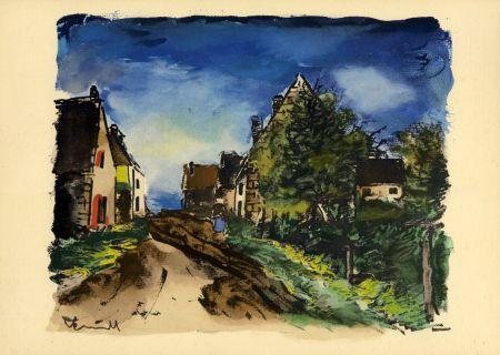 ステンシル Vlaminck - Vlaminck Paysage d'Île-de-France (1953) de l'album : Douze Contemporains par J. Lassaigne (1959)