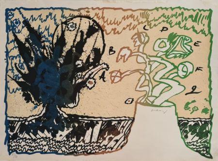 リトグラフ Alechinsky - Volcan alphabétique