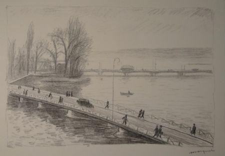 エッチング Marquet - Vue de deux Ponts (L'île Rousseau, Genève).