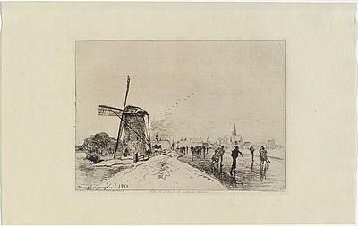 彫版 Jongkind - Vue de la ville de Maassluis, in Eaux-fortes modernes publiées par la Société des Aqua-fortistes.
