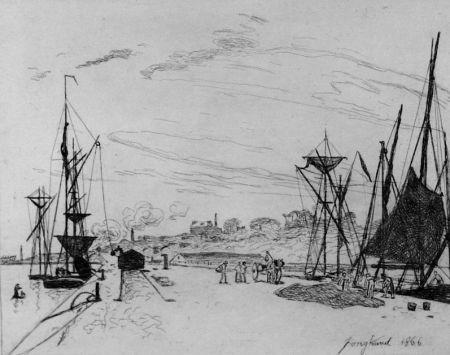 エッチング Jongkind - Vue du port au chemin de fer a Honfleur