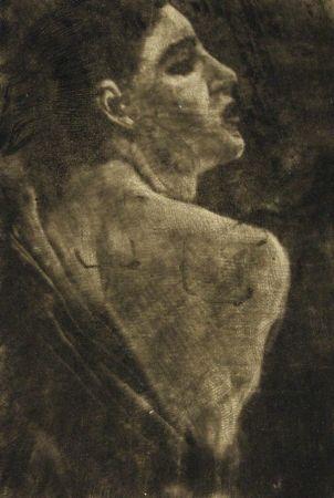 彫版 Klinger - Weibliche Halbfigur Schabkunstversuch.