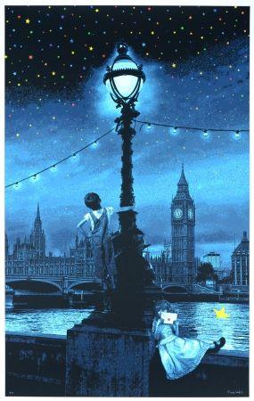 シルクスクリーン Roamcouch - When you wish upon a star - London (blue edition)