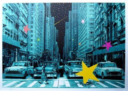 シルクスクリーン Roamcouch - When you wish upon a star NYC (green edition)