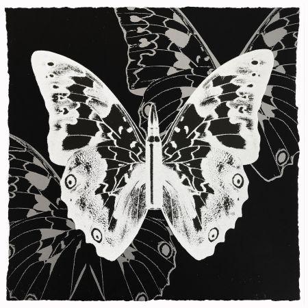 シルクスクリーン Robierb - White Butterfly on Black