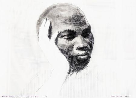 シルクスクリーン Claerbout - White Hand Supporting a Black Head