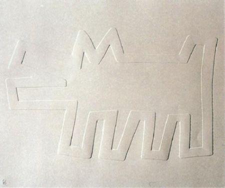 シルクスクリーン Haring - White Icons: Barking Dog