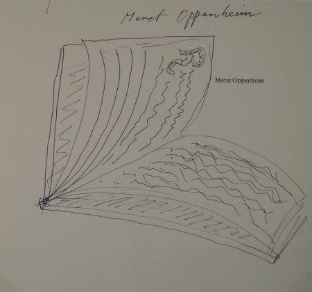 "技術的なありません Oppenheim - Widmungszeichnung eines aufgeschlagenen Buches mit Initial R. auf dem Vortitel eines Buchs mit gedrucktem Namen ""Meret Oppenheim"""