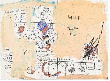 シルクスクリーン Basquiat - Wolf Sausage