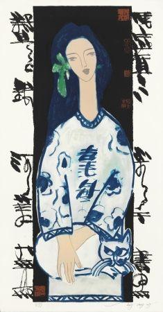 リトグラフ Tongzhengang - Woman and cat