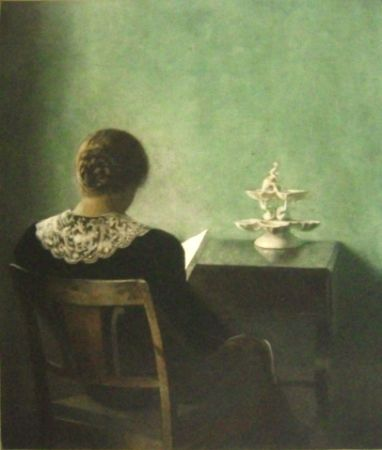 メゾチント彫法 Ilsted - Woman reading