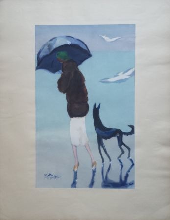 ステンシル Van Dongen - Woman With A Dog Walking On The Beach