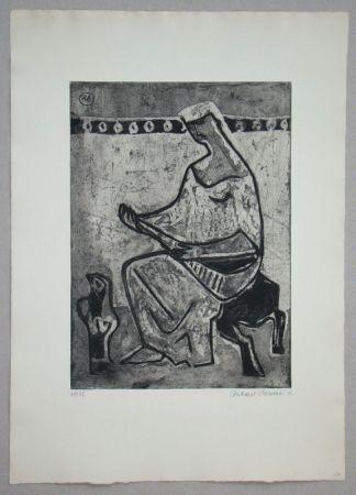 エッチングと アクチアント Schlotter - Woman with mandolin