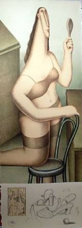 リトグラフ Carruthers - Woman with Remarque