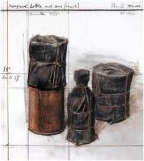 リトグラフ Christo - Wrapped Bottle and Cans (Project)