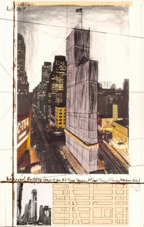 多数の Christo - Wrapped Building, Project for #1 Times Square, Allied Chemical Tower, New York City