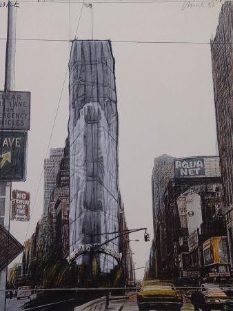 多数の Christo - Wrapped building/Project for #1 Times Square/Allied Chemical Tower