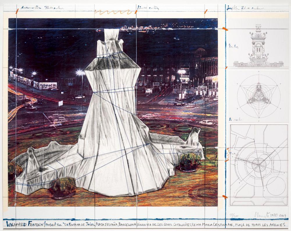 リトグラフ Christo - Wrapped Fountain