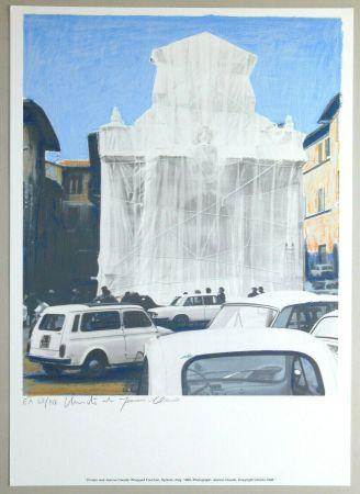 リトグラフ Christo - Wrapped fountain, Spoleto 1968