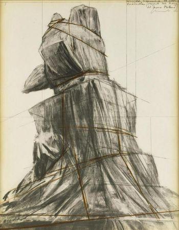 リトグラフ Christo - Wrapped monument to Vittorio Emanuele
