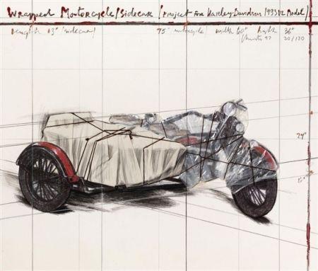 リトグラフ Christo - Wrapped Motorcycle/Sidecar
