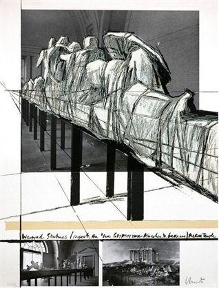 シルクスクリーン Christo - Wrapped Statues – Project For Derglypotek-Munchen, West Germany, Aegina Temple