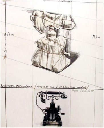 リトグラフ Christo - Wrapped Telephone, Project for L.M. Ericsson Model