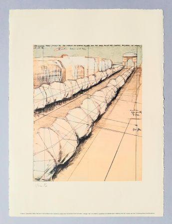 リトグラフ Christo - Wrapped trees, project for Avenue des Champs Elysees