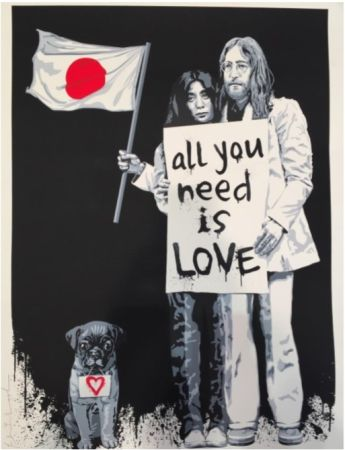 シルクスクリーン Mr Brainwash - Yoko Ono and John Lennon