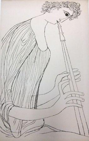 リトグラフ Shahn - Young Man Playing Double Oboe