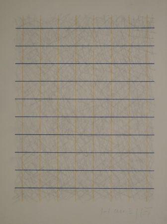 技術的なありません Honegger - Zeichnung in Bleistift und Rapidograph in Blau und Orange.